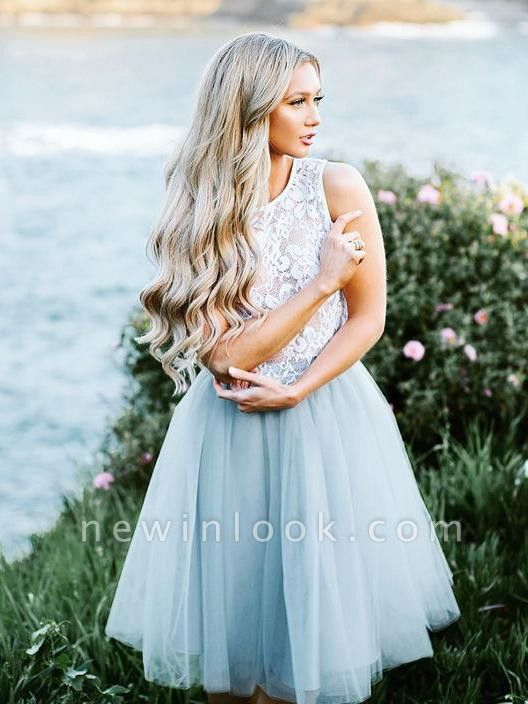 Lace Jewel Sleeveless Dama Dress