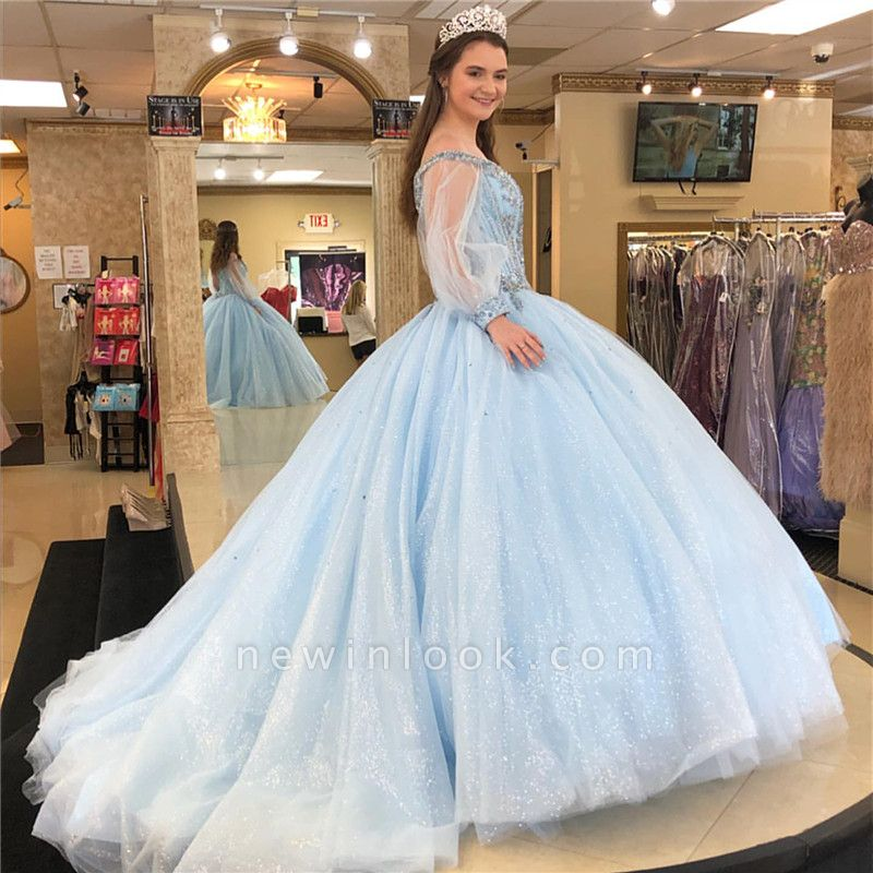 Attractive Off-the-shoulder Beadings Sweet 16 Dresses | Illusion Long-Sleeves Ball Gown Quince Dresses Long