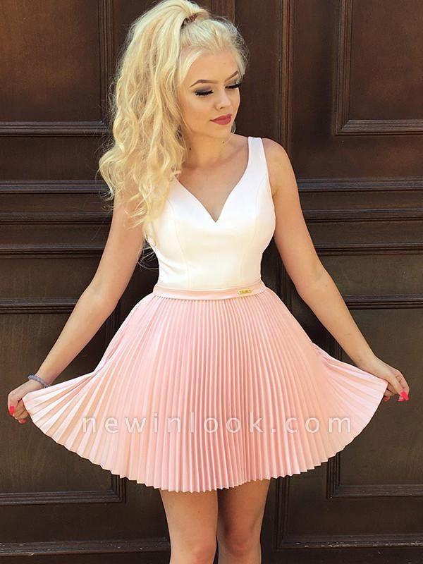 Straps Sexy V-Neck Ruffles Short Dama Dress