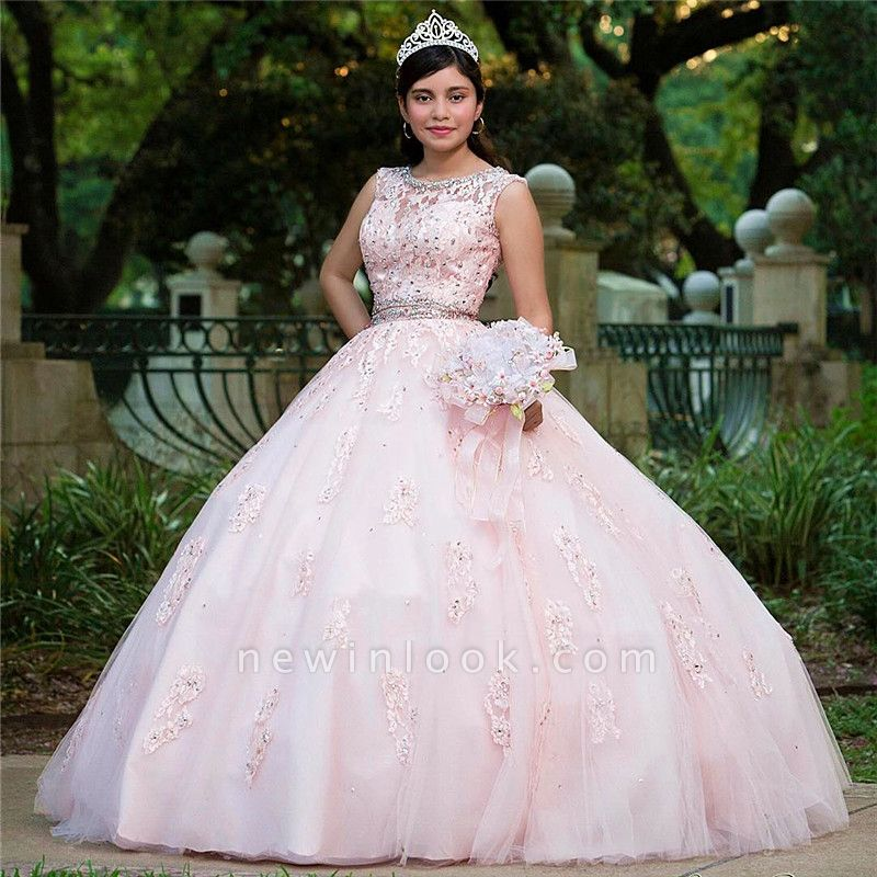 Fabulous Pink Jewel Appliques Ball Gown XV Dresses | Sleeveless Beadings Quinceanera Dresses Long