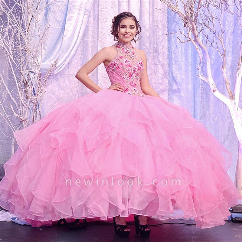 Wonderful Pink High-neck Embroidery 15 Dresses | Sleeveless Quinceanera Dresses Long