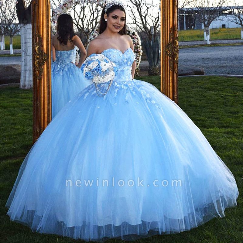 Fascinating Strapless Sweetheart Ball Gown Quinceanera Dresses | Appliques 15 Dresses Long