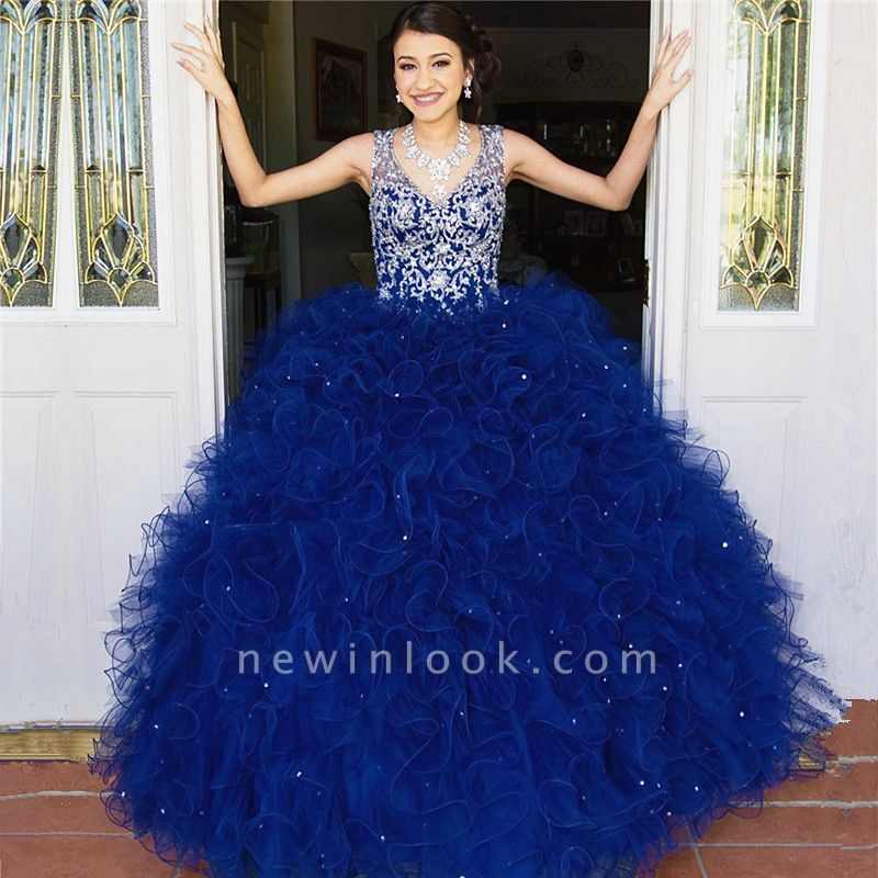Attractive Blue V-neck Beadings Sleeveless Sweet 16 Dresses | Appliques Ruffles Ball Gown Quince Dresses Long