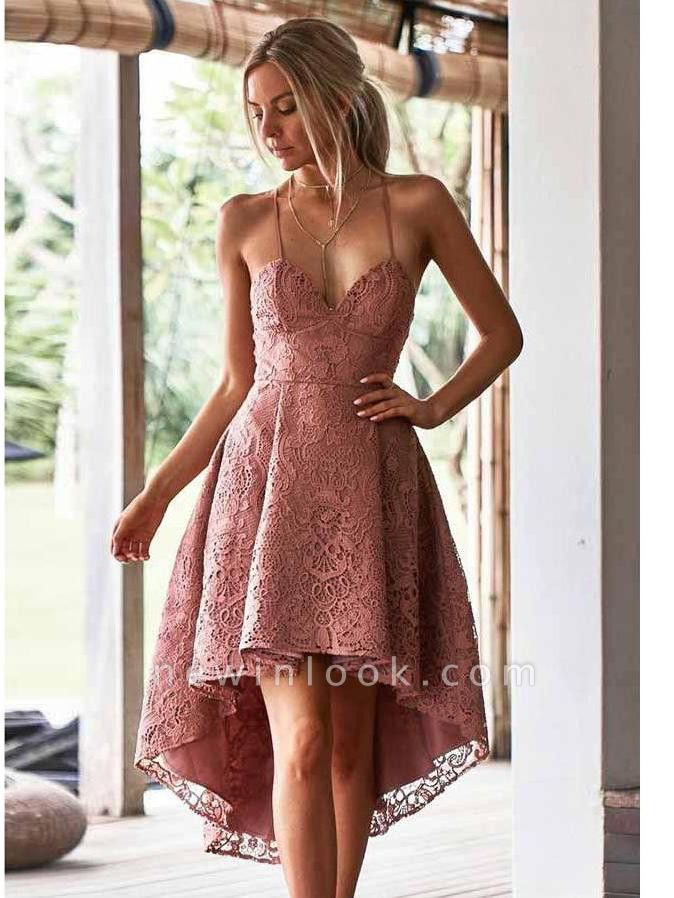 Hi-Lo Lace Spaghetti-Straps Sexy V-Neck Dama Dress