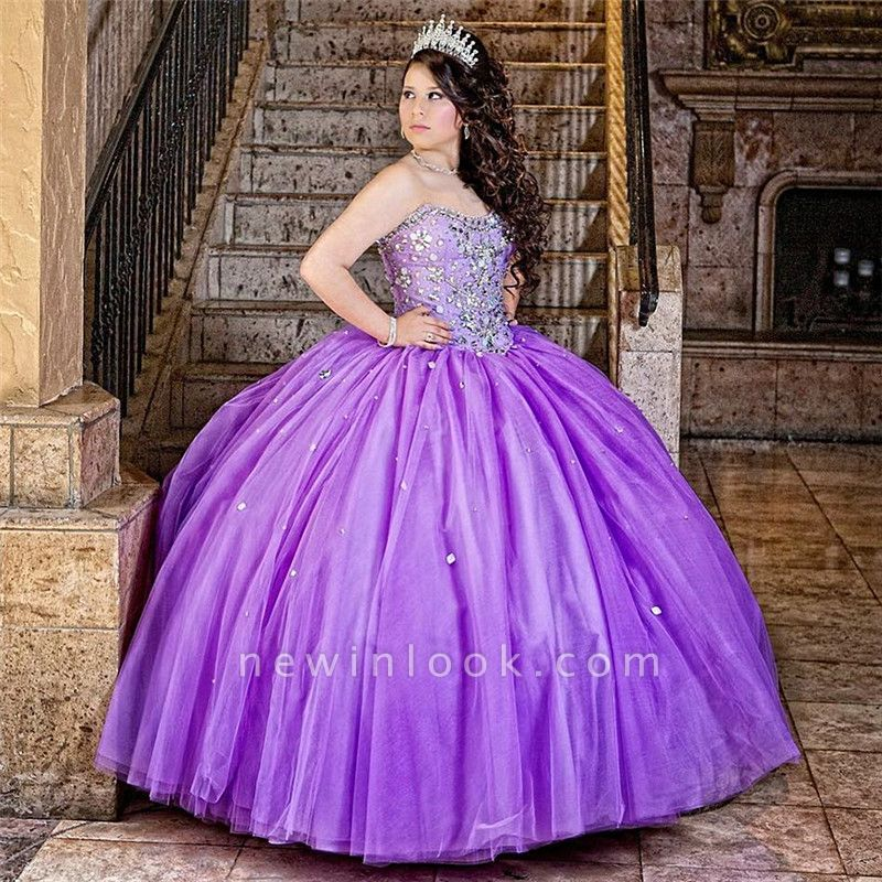 Excellent Purple Sweetheart Beadings Ball Gown Quince Dresses | Layered XV Dresses Long