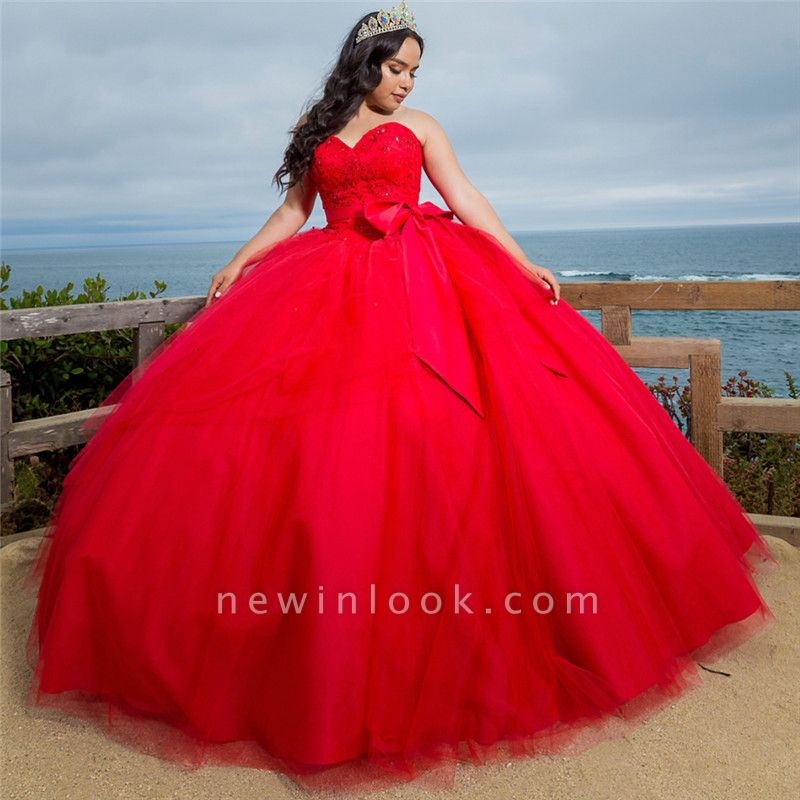 Gorgeous Red Sweetheart Sleeveless Shining Beadings Quinceanera Dresses | Belted Ball Gown XV Dresses