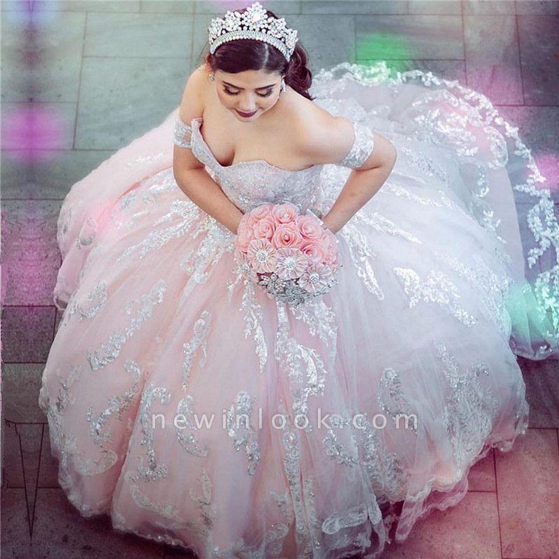 Vestido de fiesta maravilloso con lentejuelas y hombros descubiertos 15 vestidos | Cariño sin mangas quinceañera vestidos largos