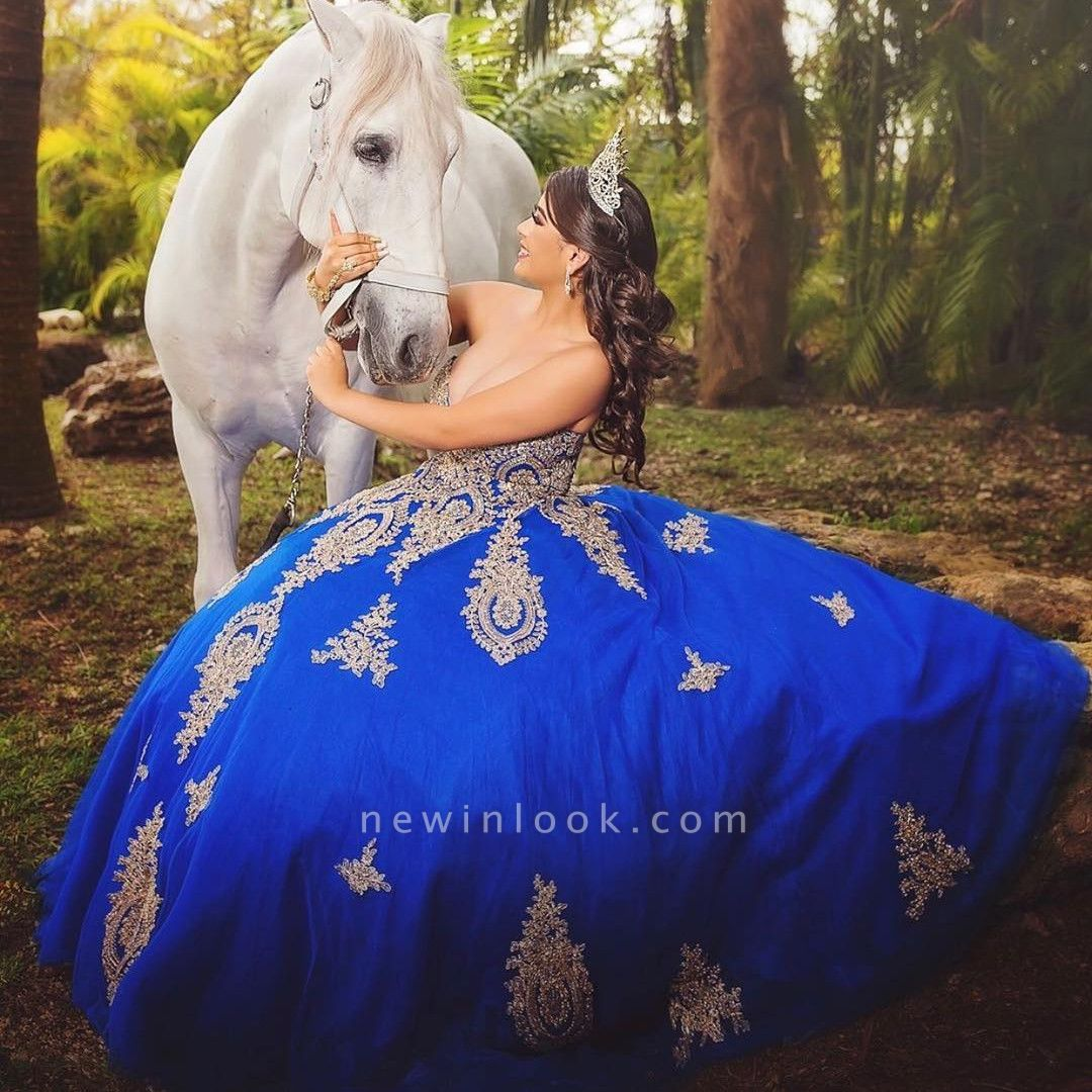 Fabulous Royal Blue Sweetheart Ball-Gown Appliques XV Dresses | Floor-Length Quinceanera Dresses