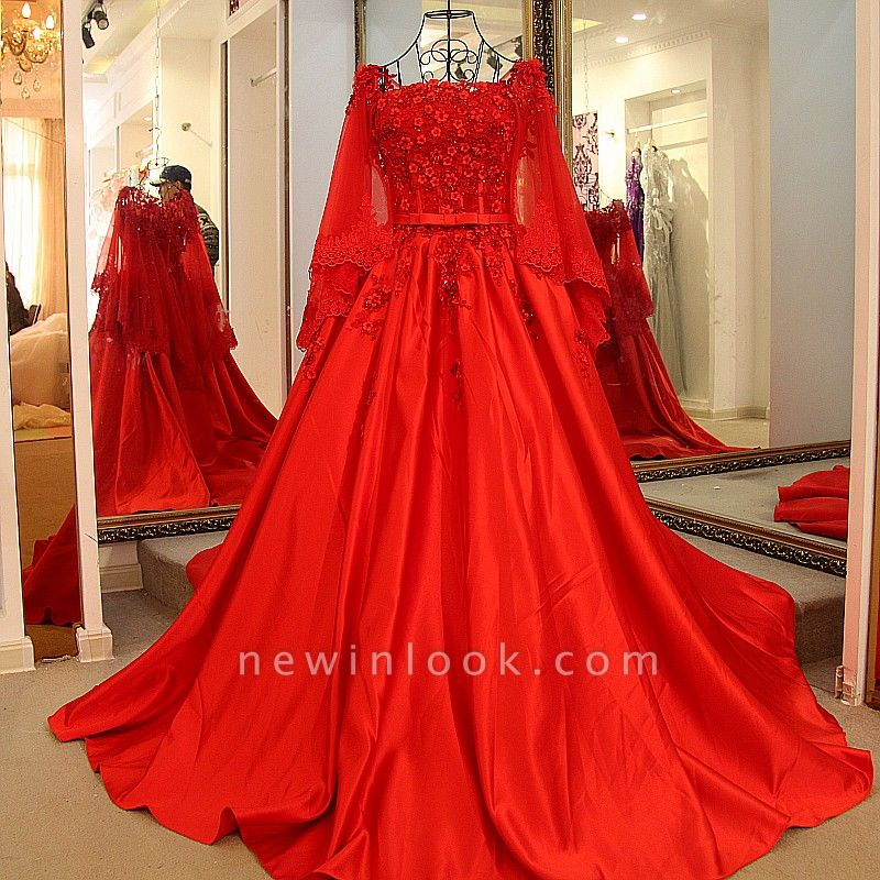 Red Long Sleeves Floor Length Appliqued Quinceanera Dresses with Sash