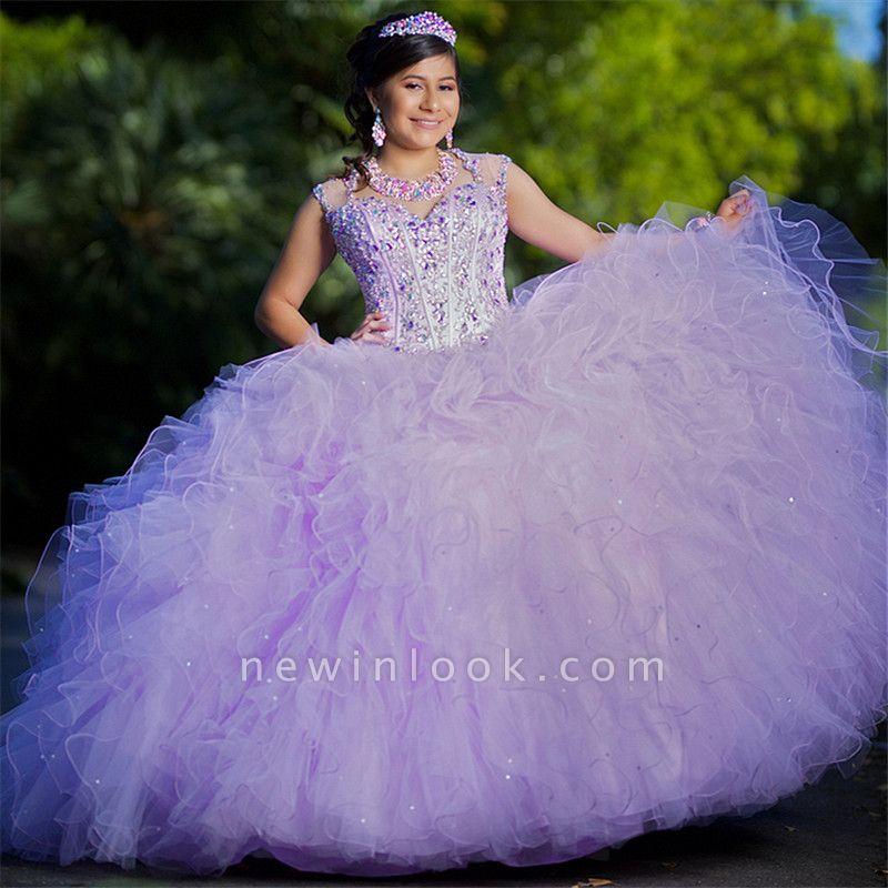 Fascinante joya con volantes vestido de bola Vestidos de quinceañera | Listones 15 vestidos largos