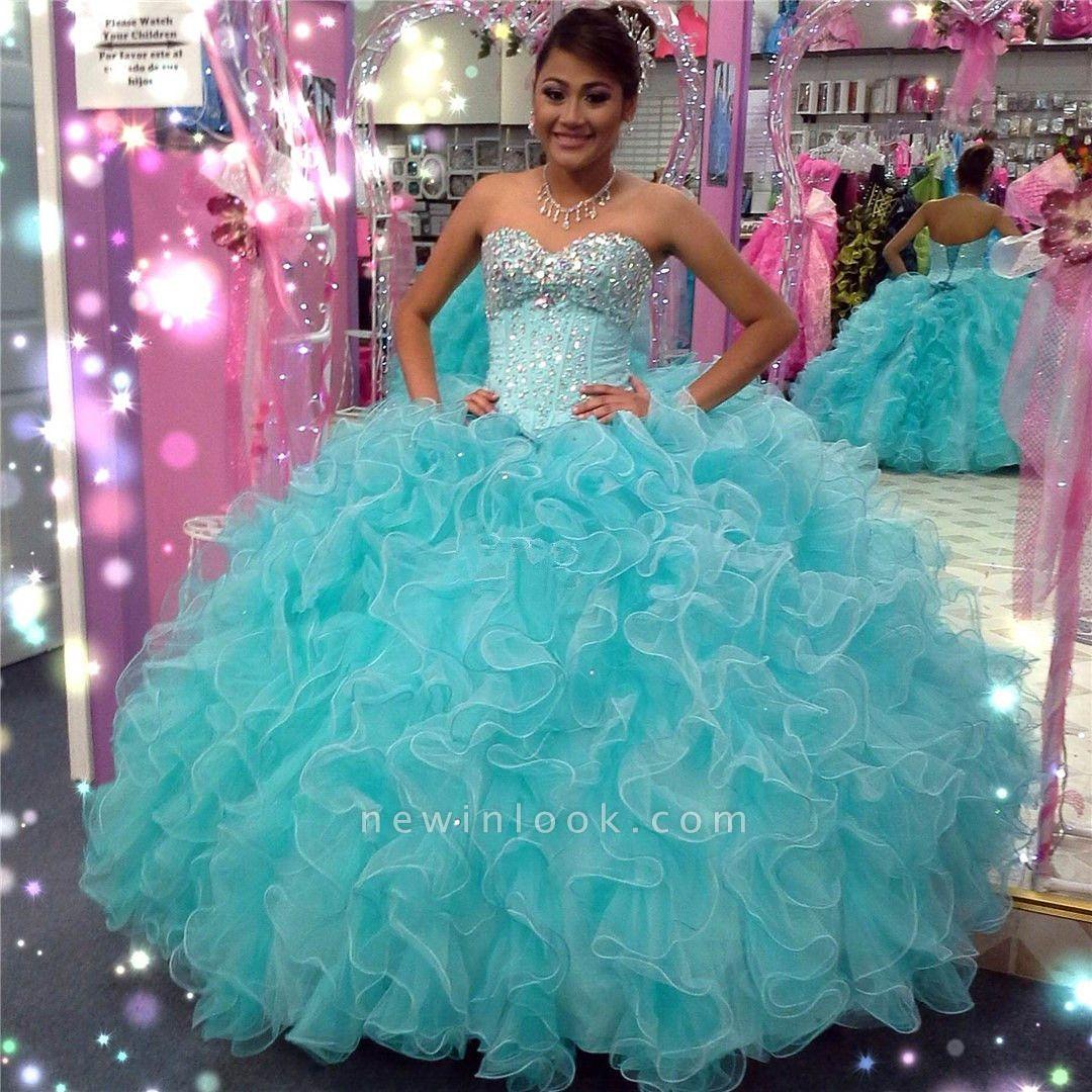 Excelente cari_o azul abalorios vestido de bola vestidos de membrillo | Volantes XV Vestidos largos