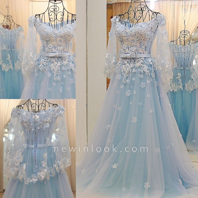 Long Sleeves Tulle Flower Appliques Quinceanera Dresses