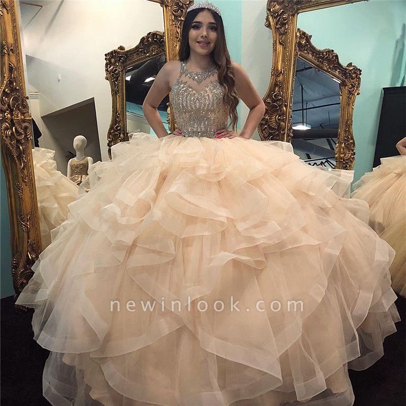 Marvelous Jewel Beadings Ball Gown Sweet 16 Dresses | Cascading Ruffles Quinceanera Dresses Long