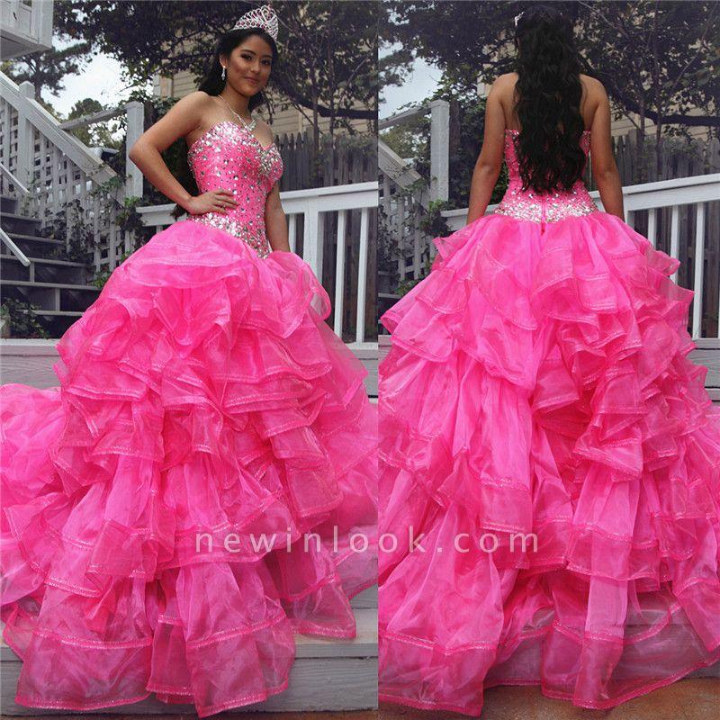 Precioso vestido de fiesta de bola de Beadings quinceañera Vestidos | Tren de barrido 16 vestidos largos
