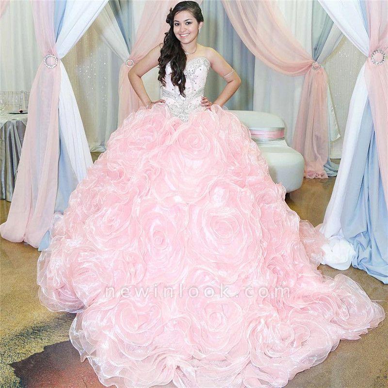 Fabulous Pink Sweetheart Beadings Ball Gown XV Dresses | Sleeveless Quinceanera Dresses Long