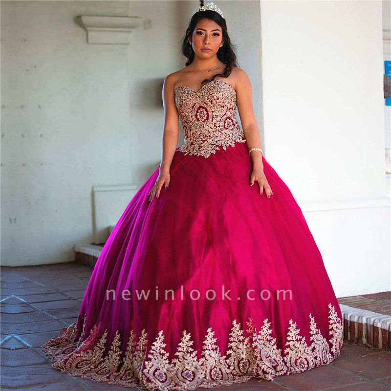 Beautiful Sweetheart Appliques Ball Gown Quinceanera Dresses | Strapless 16 Dresses Long
