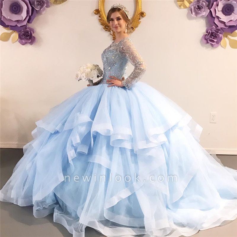 Gorgeous Jewel Beadings Ball Gown Quinceanera Dresses | Long-sleeves Layered Ball Gown XV Dresses
