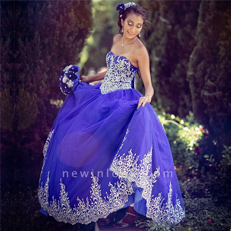 Gorgeous Blue Sweetheart Sleeveless Appliques Quinceanera Dresses | Tulle Ball Gown XV Dresses