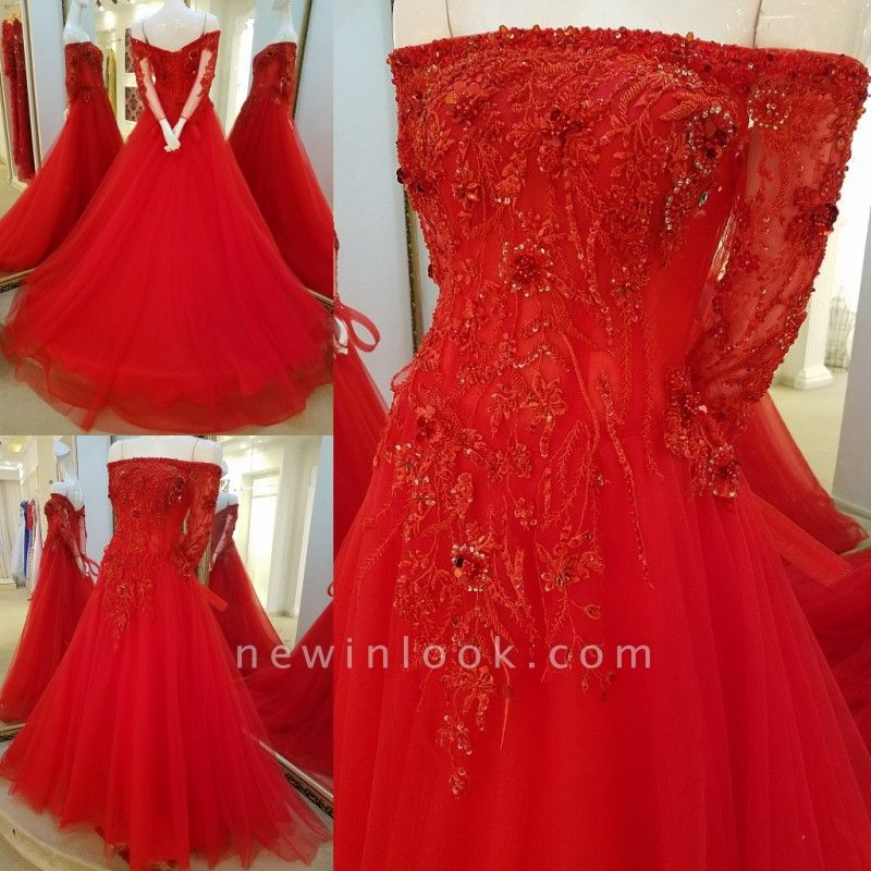 Off-the-shoulder Floor Length Crystal Beading Tulle Quinceanera Dresses with Sleeves