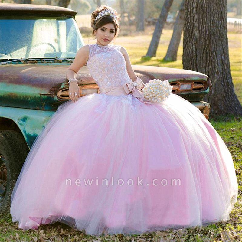 Hermosa joya sin mangas apliques vestido de bola vestidos de quincea_era | Arco con cinturón 16 vestidos largos