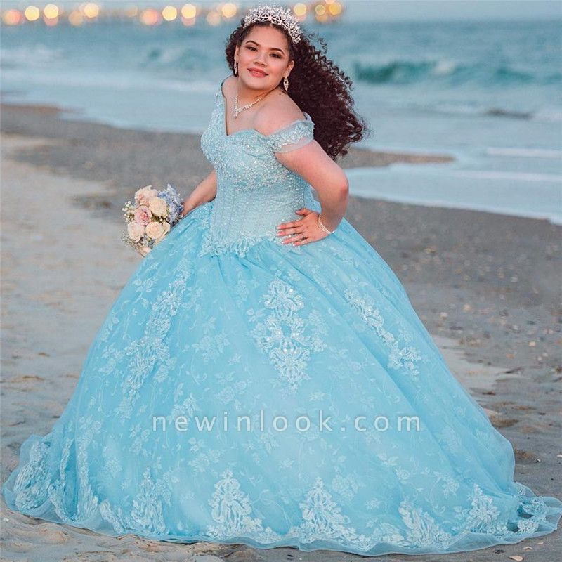 Excellent Off-the-shoulder Beadings Ball Gown Quince Dresses | Lace XV Dresses Long