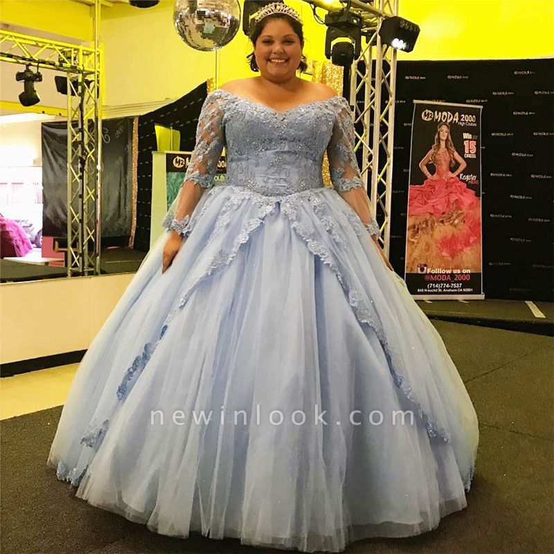 Charming Off-the-shoulder Ball Gown Appliques Quince Dresses | Illusion Long-Sleeves 16 Dresses Long