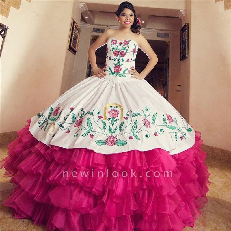 Vestido de bola bordado cariño encantador vestidos de membrillo | Sin mangas con gradas 16 vestidos largos