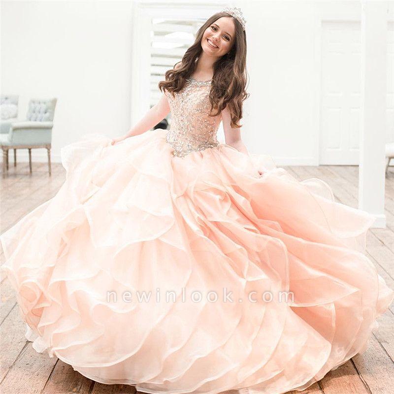 Hermosa joya sin mangas Listones vestidos de quinceañera | Vestido de bola en capas vestidos xv