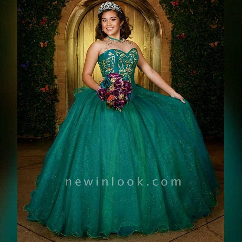 Wonderful Green Jewel Sleeveless Embroidery 15 Dresses | Beadings Quinceanera Dresses Long