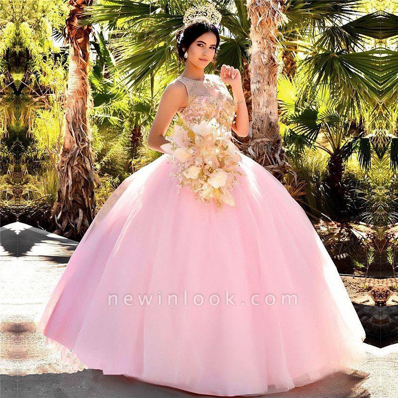 Excelente Blush Pink Jewel Appliques vestido de bola Vestidos de membrillo | Listones XV Vestidos Largos