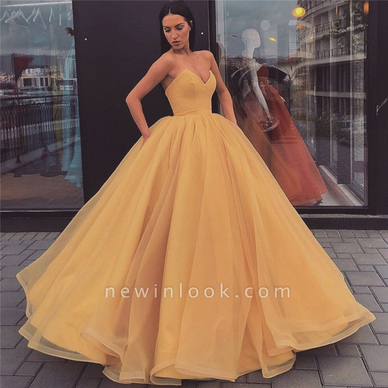 Fabulous Sweetheart Ball Gown Prom Dresses | Simple Floor Length Evening Dresses