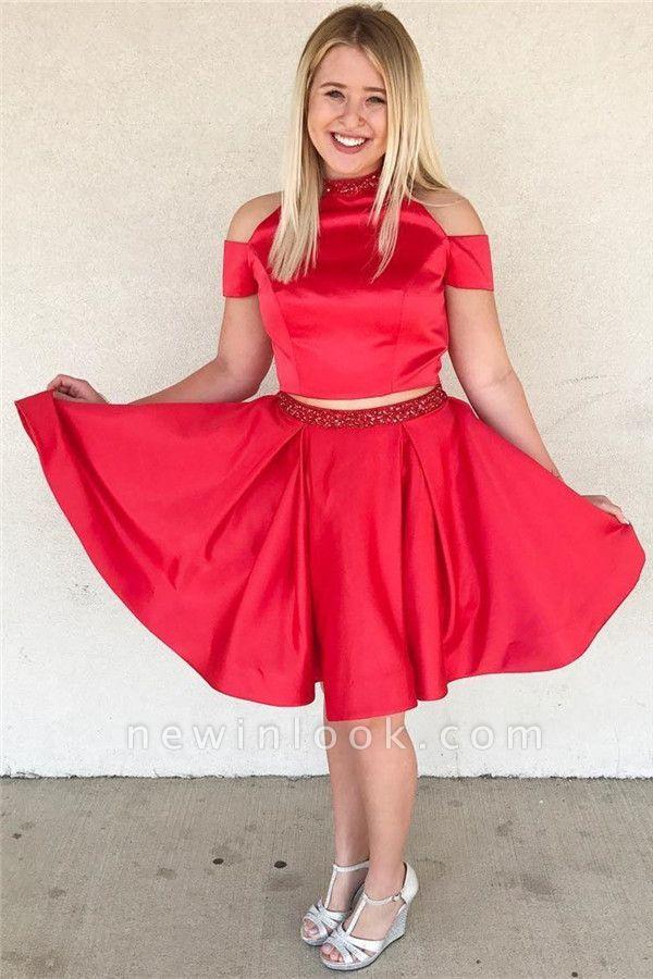 Stylish Two-Pieces Beading Knee-Length Dama Dress