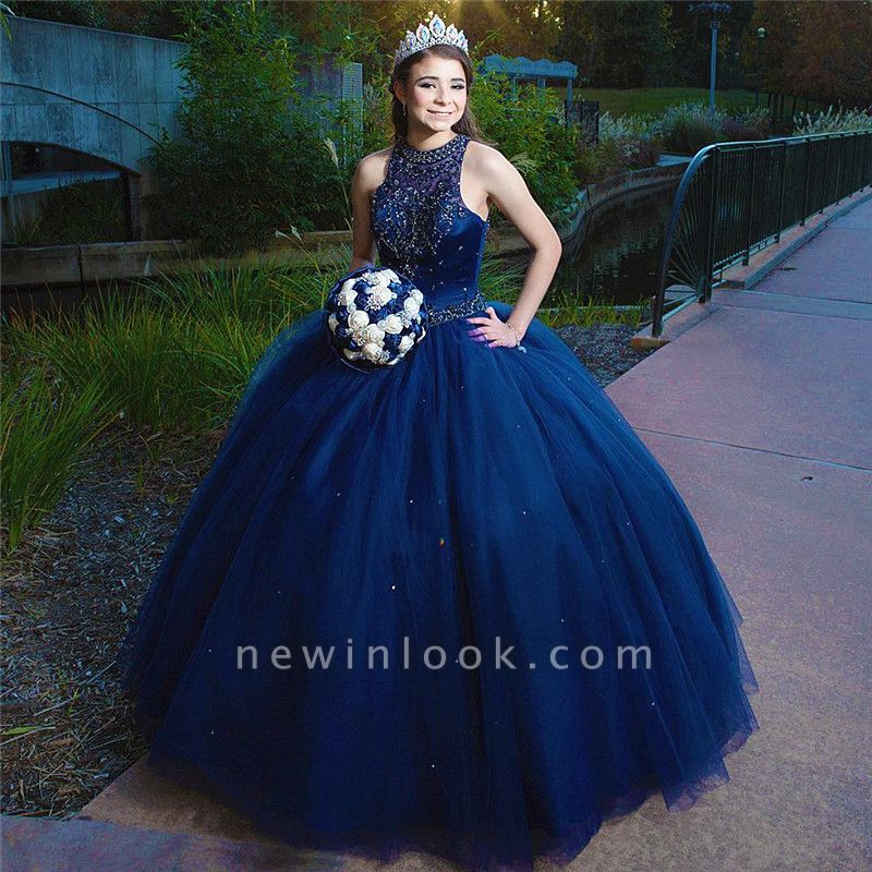 Attractive Ink Blue Jewel Beadings Sleeveless Sweet 16 Dresses | Ball Gown Quince Dresses Long