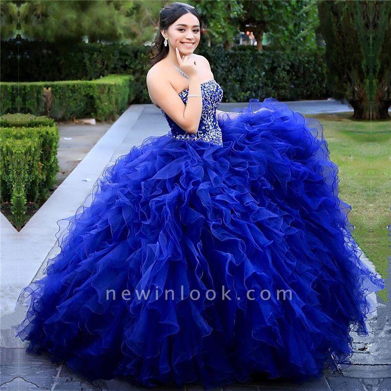 Gorgeous Royal Blue Strapless Sleeveless Beadings Quinceanera Dresses | Ruffles Ball Gown XV Dresses