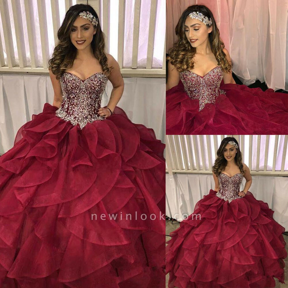 Wonderful Burgundy Sweetheart Sleeveless Appliques 15 Dresses | Shining Beadings Ruffles Quinceanera Dresses Long