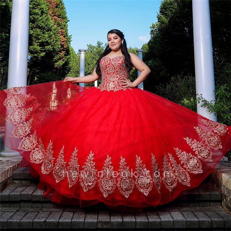 Exquisite Red Sweetheart Appliques Ball Gown Quinceanera Dresses | Sleeveless Sweet 16 Dresses Long