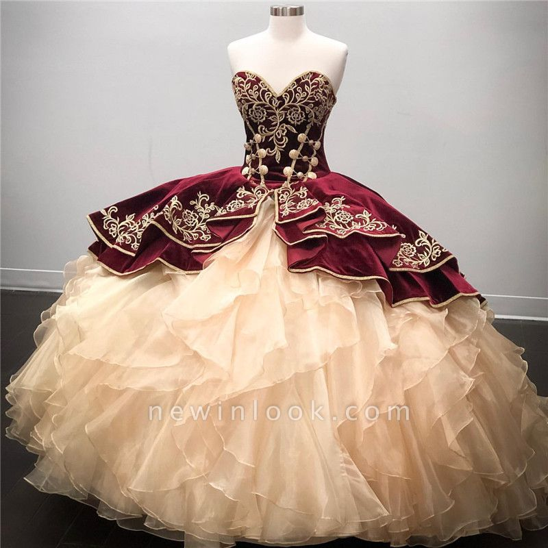 Wonderful Sweetheart Embroidery Ball Gown 15 Dresses | Sleeveless Cascading Rruffles Quinceanera Dresses Long