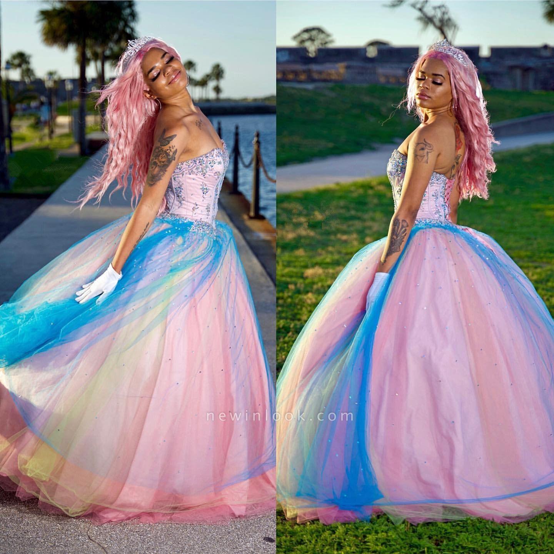 Exquisito colorido vestido de fiesta sin tirantes vestidos de quinceañera | Listones cariño dulce 16 vestidos largos