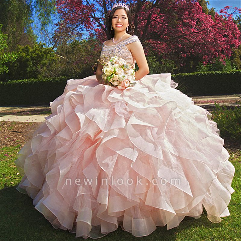 Attractive Bateau Beadings Sweet 16 Dresses | Ruffles Ball Gown Quince Dresses Long