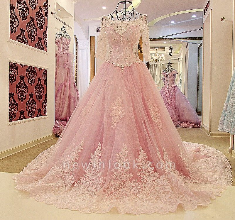 Illusion Tulle Long-Sleeves Chapel Train Quinceanera Dress