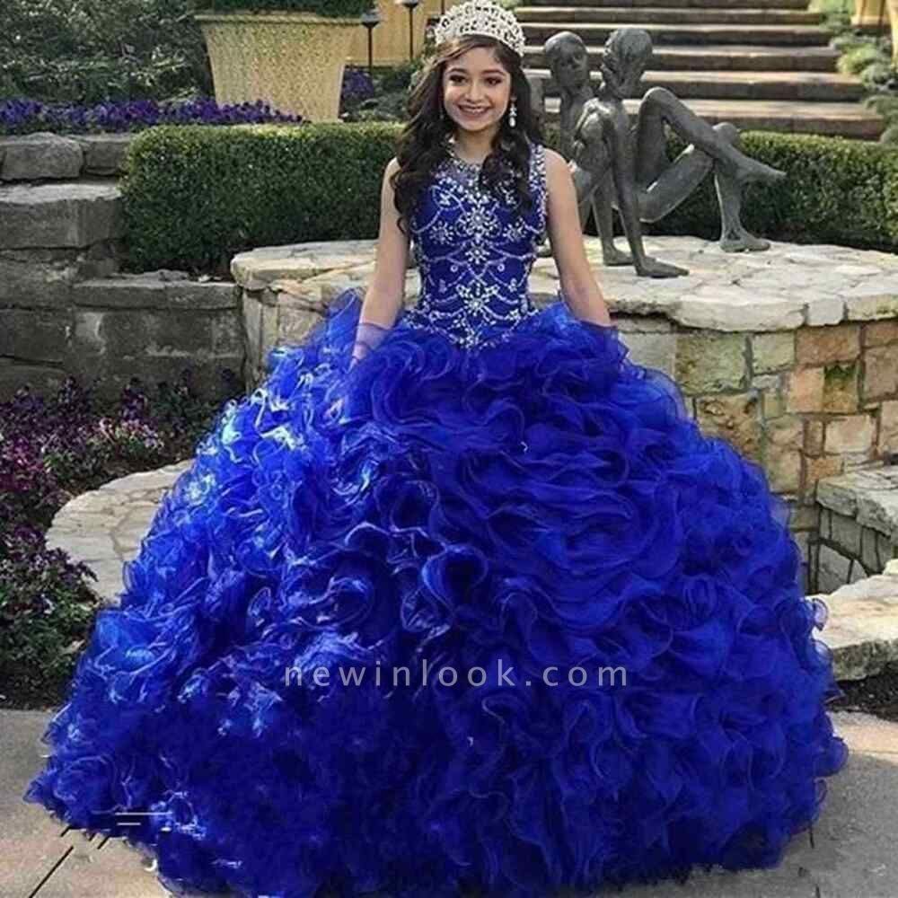 Gorgeous Royal Blue Jewel Sleeveless Beadings Quinceanera Dresses | Tulle Ruffles Ball Gown XV Dresses