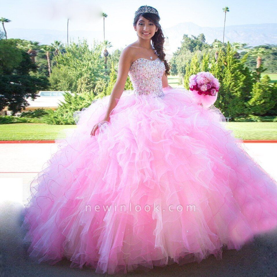 Charming Pink Sweetheart Ball Gown Beadings Quince Dresses | Ruffles 16 Dresses Long