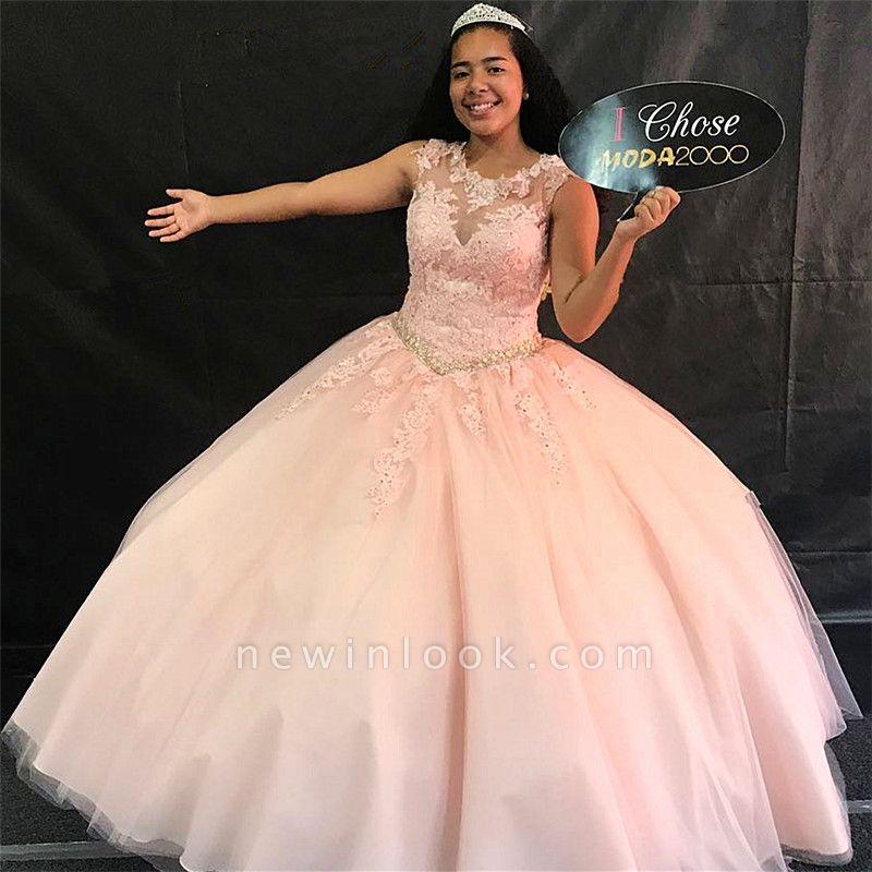 Maravilloso joya rosa sin mangas apliques 15 vestidos | Bonitos listones de quincea_era vestidos largos