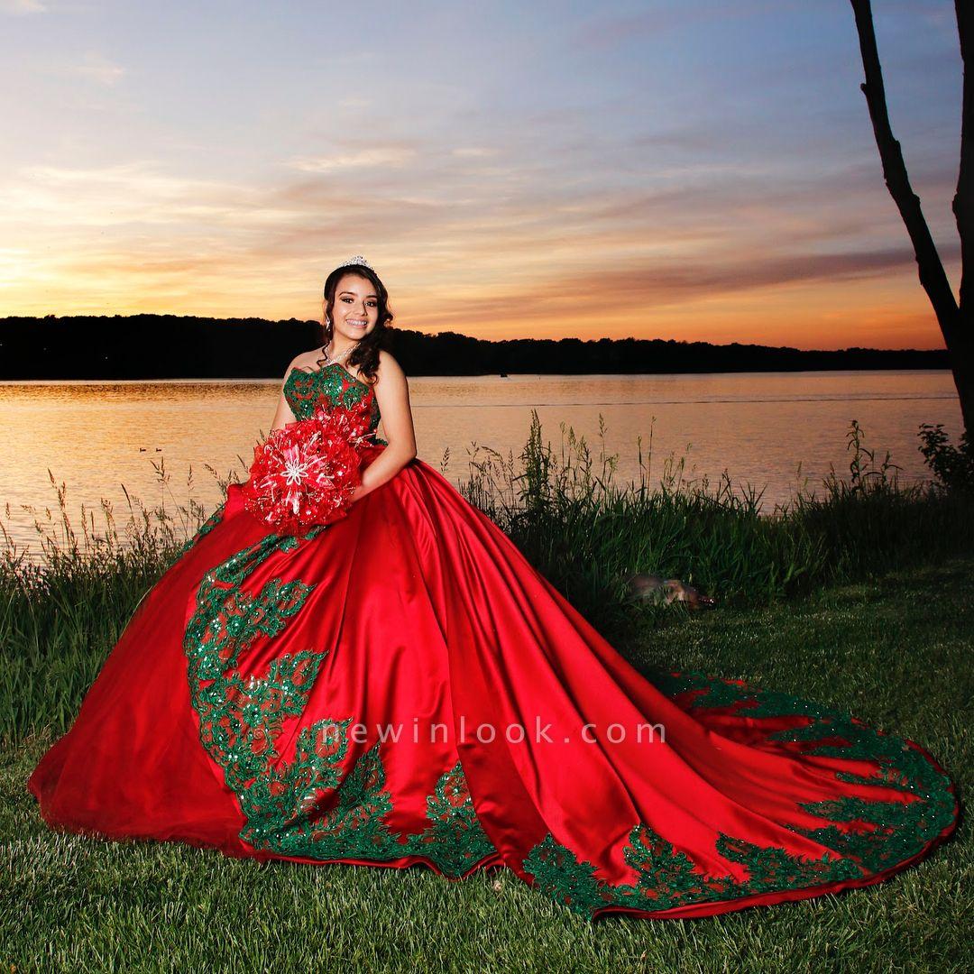Fabuloso vestido rojo con apliques de novia en forma de bola Vestidos XV | Sin mangas de tren de barrido de quinceañera vestidos largos