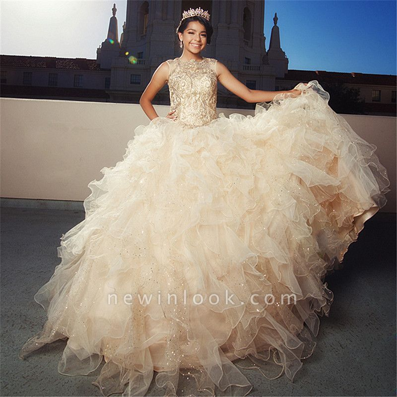 Fascinating Jewel Ruffles Appliques Ball Gown Quinceanera Dresses | Beadings 15 Dresses Long