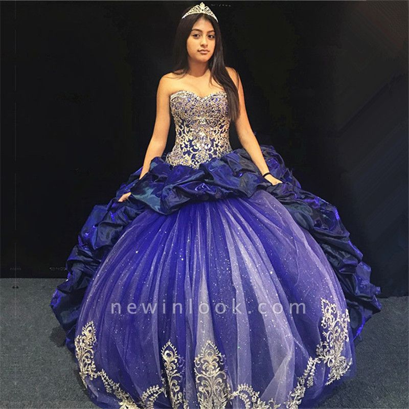 Excellent Blue Sweetheart Appliques Ball Gown Quince Dresses | Ruffles XV Dresses Long