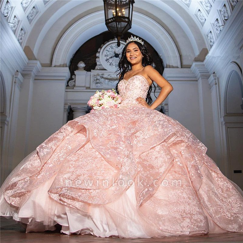 Fascinating Sweetheart Lace Ball Gown Quinceanera Dresses | Layered 15 Dresses Long
