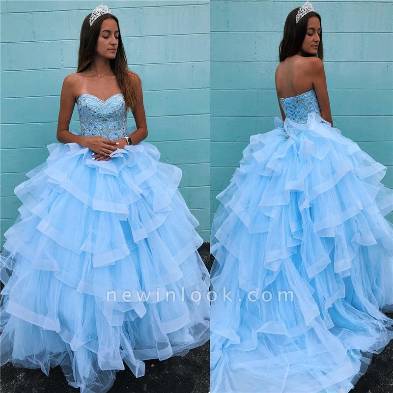 Marvelous Light Blue Beadings Ball Gown Sweet 16 Dresses | Tiered Quinceanera Dresses Long