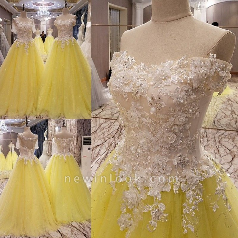 Short Sleeves Long Tulle Floral Appliques A-line Quinceanera Dresses
