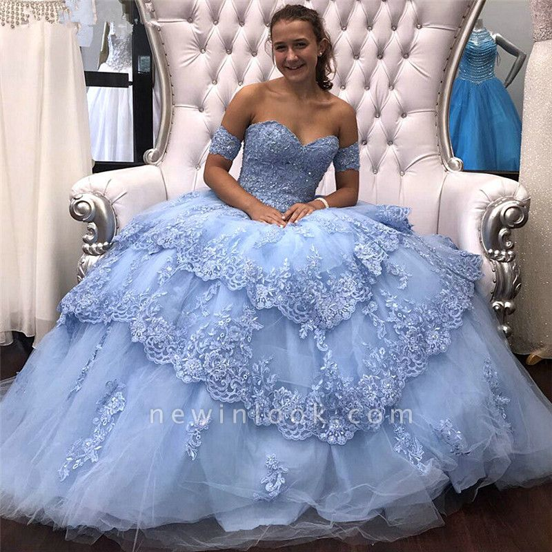 Attractive Off-the-shoulder Appliques Sweet 16 Dresses | Lace Ball Gown Quince Dresses Long